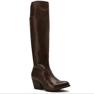 Brown Slouchy Cow Leather Thick Block Heel Boots
